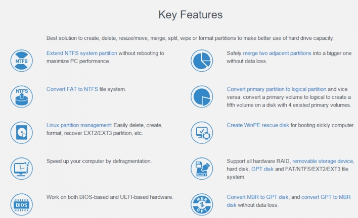 The Key Features of EaseUS Partition Master