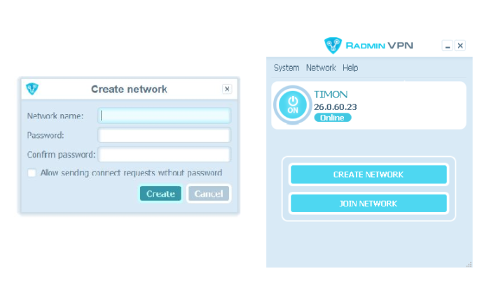 Creating private network with Radmin VPN software